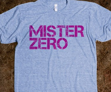 Mister Zero distressed logo shown on American Apparel athletic t-shirt
